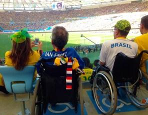 Wheelchair fans watching France v Germany, World Cup quarter-final at the Maracana Stadium, Rio de Janeiro.