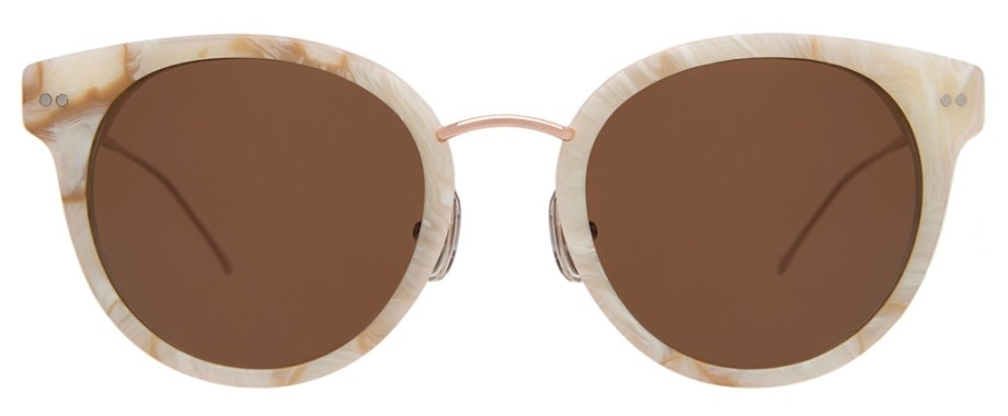 Illesteva Bridgeport Savannah Cream Marble Rose Gold w Brown Lenses