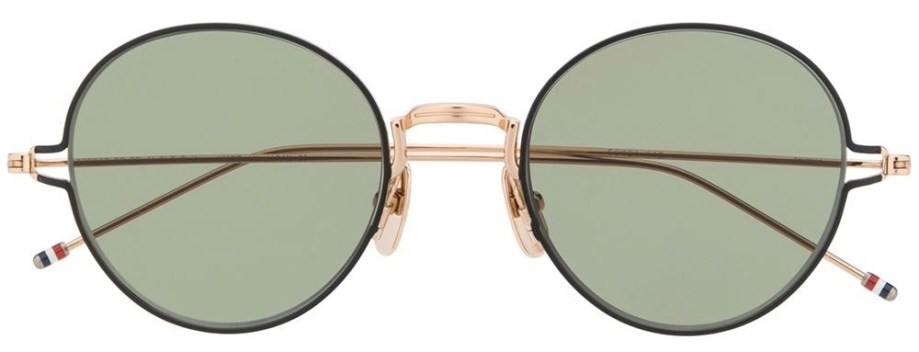 thom browne eyewear TB915 gold round sunglasses