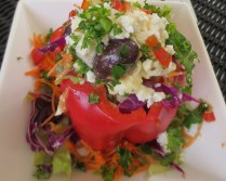 Lunch at the Tree Lounge: a red pepper stuffed with greek salad