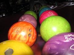 Colourful bowling bowls