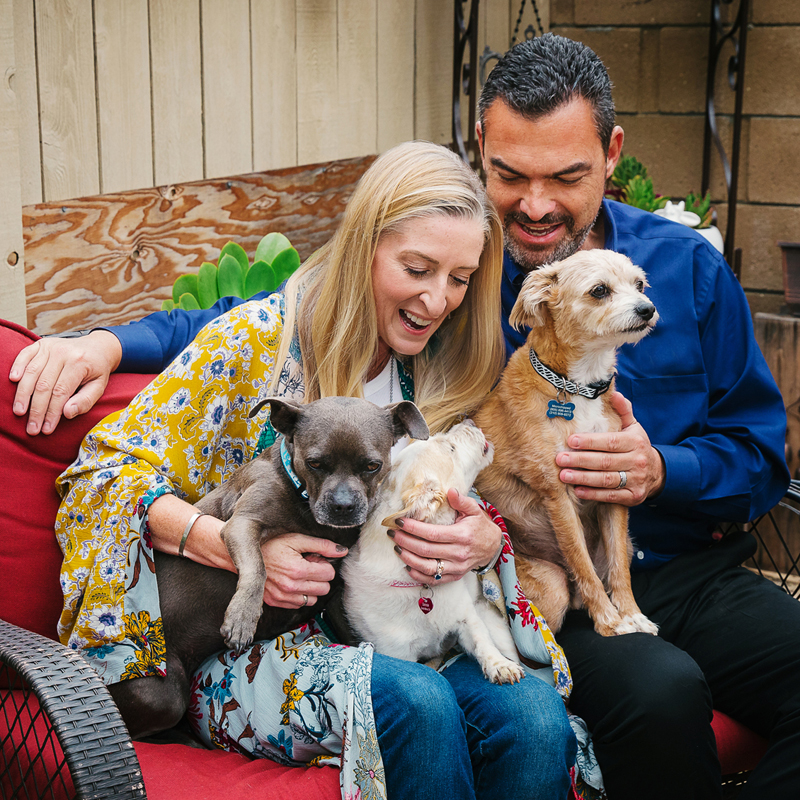 Photo: Sarah, a disability consultant, her husband, and their three dogs