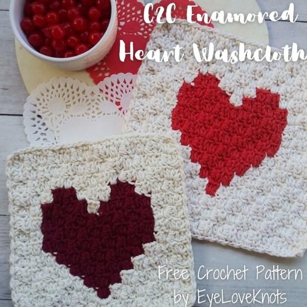crocheted heart washcloth