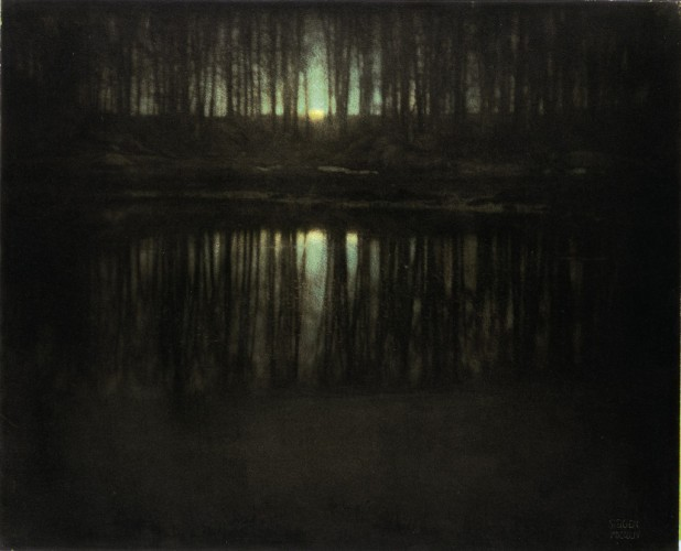 "This image, provided Monday, Feb. 13, 2006 by Sotheby's, shows ""The Pond-Moonlight"" by Edward Steichen. The picture, of which only two other prints are in museum collections, is part of a group of close to 140 photographs scheduled to be auctioned this week by Sotheby's. Pre-sale estimates by the auction house price it between $700,000 (588,829) and $1 million (840,000), the highest estimate in the sale. If it sells for more than $822,400 (691,790) on Tuesday night Feb. 14, 2006 , it will set a record for a 20th-century photograph; if it sells for more than $1,248,000 (1,049,798), it will become the highest-priced photograph ever auctioned. (AP Photo/Edward Steichen, Sotheby's, HO)"