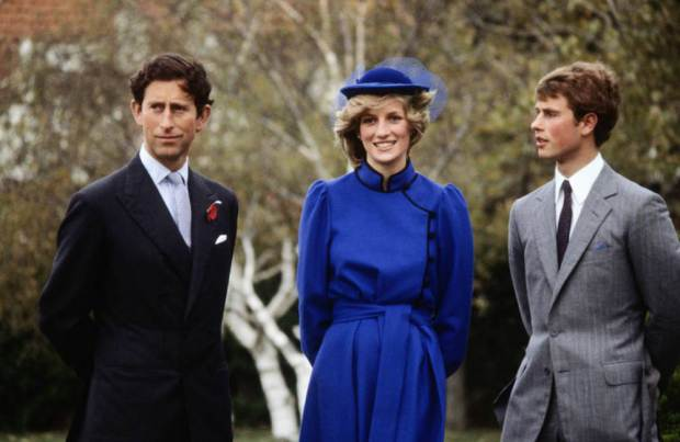 WANGANUI - APRIL 22: Prince Charles with Diana Princess of Wales and Prince Edward, at a photocall at Wanganui Collegiate in New Zealand, where Prince Edward had been a junior tutor for two terms. April 22, 1983. Charles and Diana were on a Royal Tour of New Zealand. (Photo by David Levenson/Getty Images)