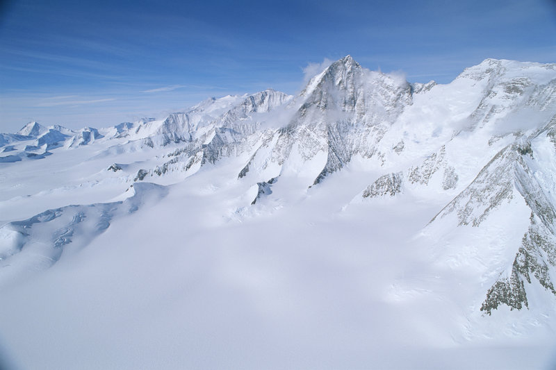 An elevated view of Patton Glacier and the Ellsworth Mountains.