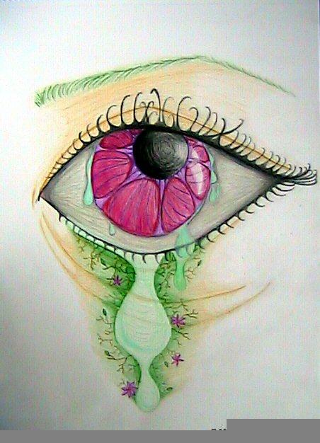 pink eye green tear