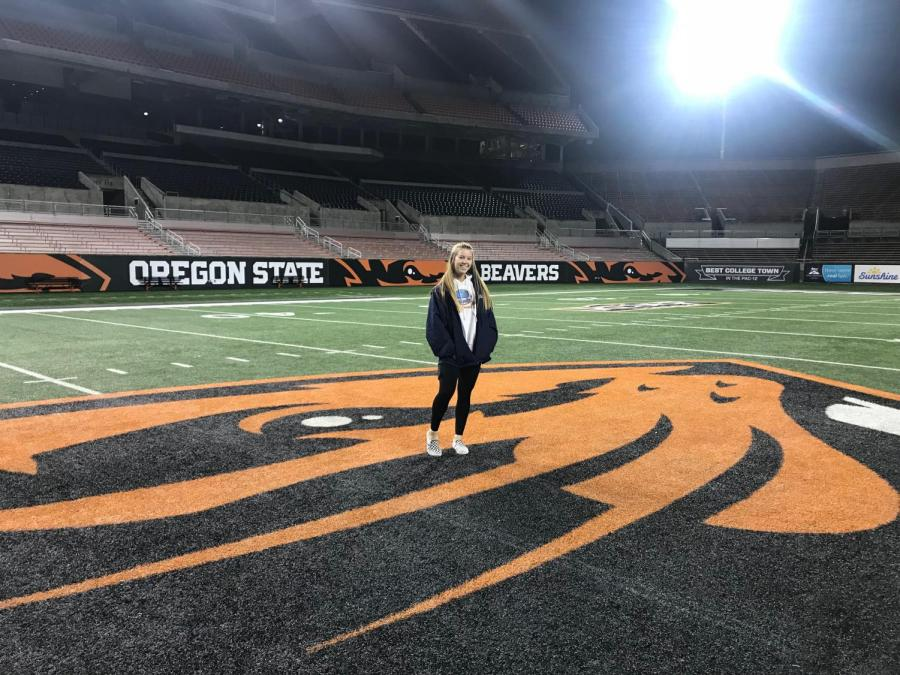 Freshman Shay McDowell committed to Oregon State University her eighth grade softball season. McDowell contributed her commitment to various college showcases and camps.