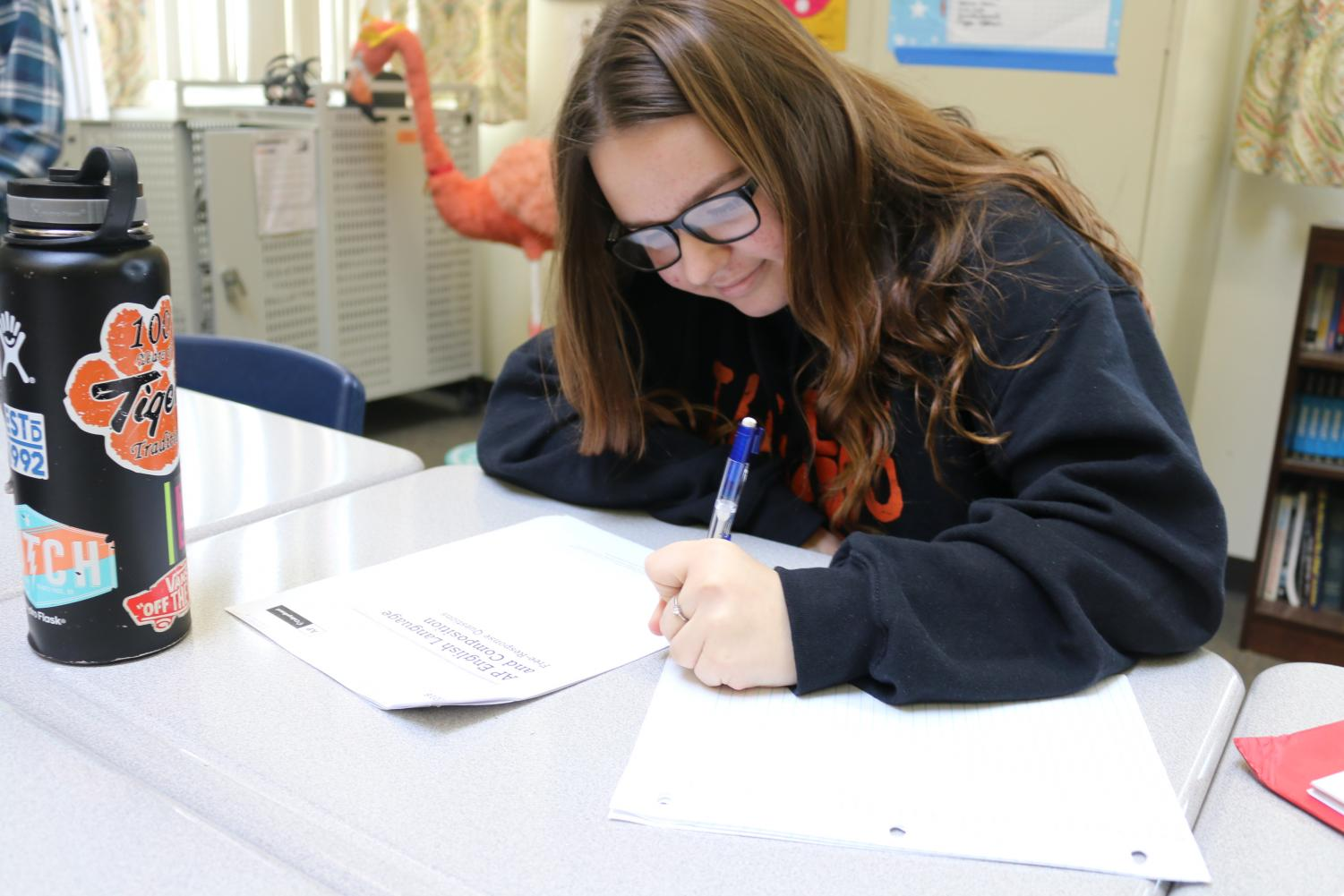 Junior AP student Emily Sullivan takes an AP practice exam in Jamie Handling's AP Language & Composition class.