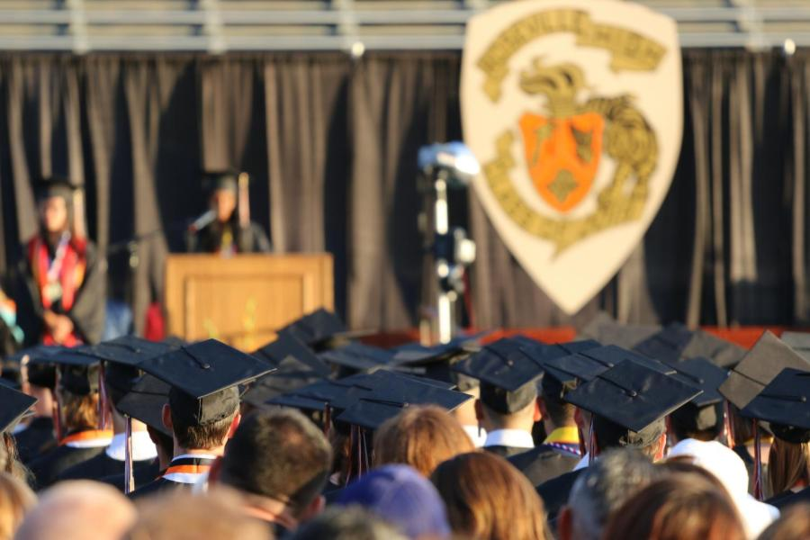 Students and guests attend Roseville High School's 2019 graduation ceremony, held Friday night on Hanson field. The class of 2020 will graduate the last Friday of May at 11:00 a.m. in the Placer Valley Event Center.