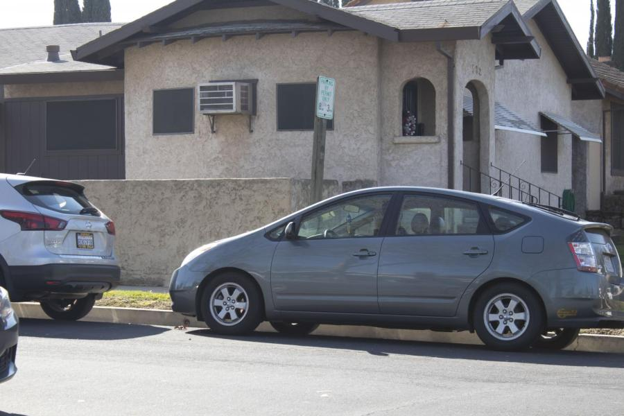 Students parked in front of houses in neighborhoods surrounding RHS. Students will park in neighborhoods and walk to school once parking near campus is full.