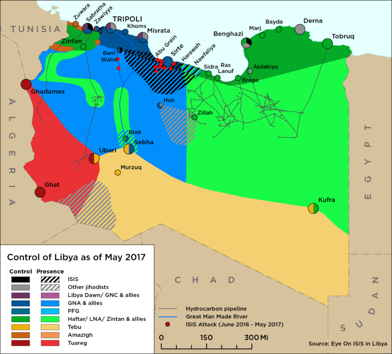 Map of Libya Control as of May 2017
