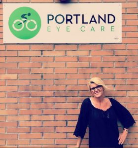 Nancy Optician in front of Optometrist in Portland