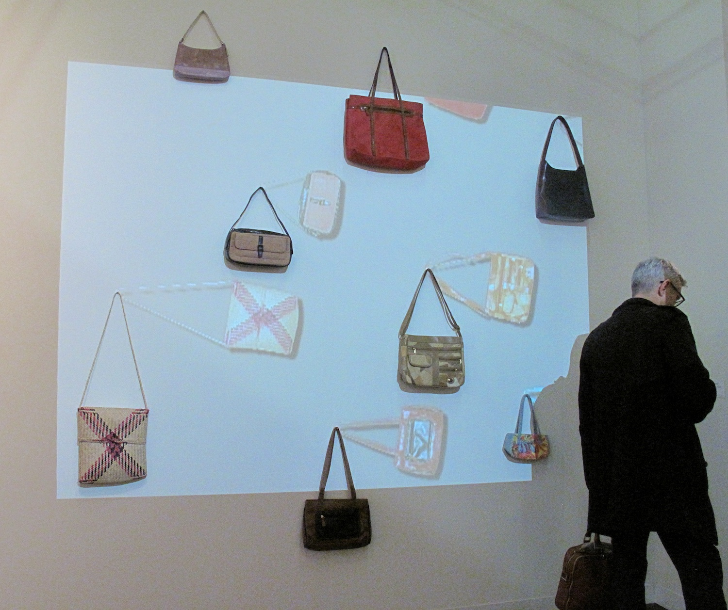 i8 Gallery, Reykjavik, Egill Saebjornsson, Original Handbags, 2006 Single channel video, with eight handbags, animation and sound The Armory Show, New York, 2014, Pier 94