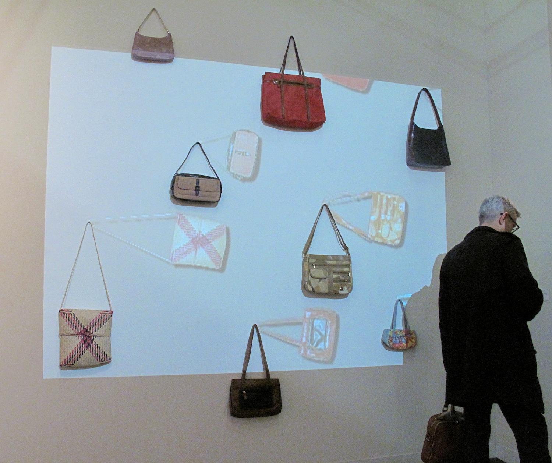 i8 Gallery, Reykjavik, Egill Saebjornsson, Original Handbags, 2006 Single channel video, with eight handbags, animation and sound The Armory Show, New York, 2014, Pier 94