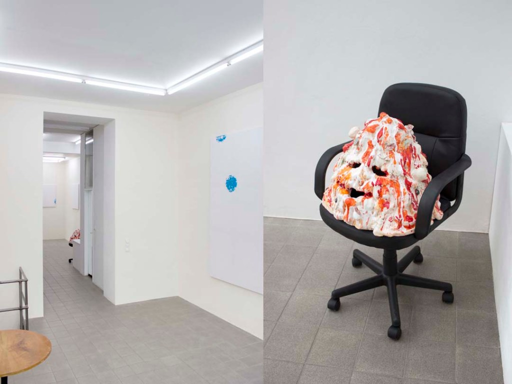 "View (right) of Marco Bruzzone's ""Set Membership"" and Sending Out For You (2014) (left) at Gillmeier Rech, Berlin"