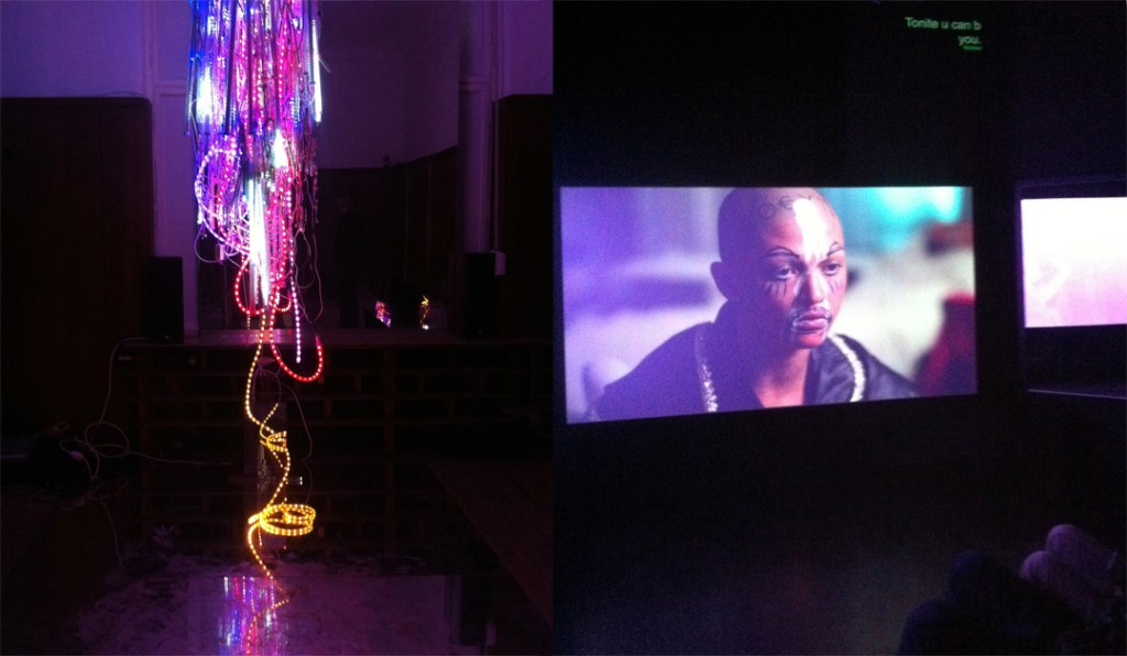 "Installation view (right) from Wu Tsang's ""A day in the life of bliss"" and video still at Isabella Bortolozzi, Berlin"