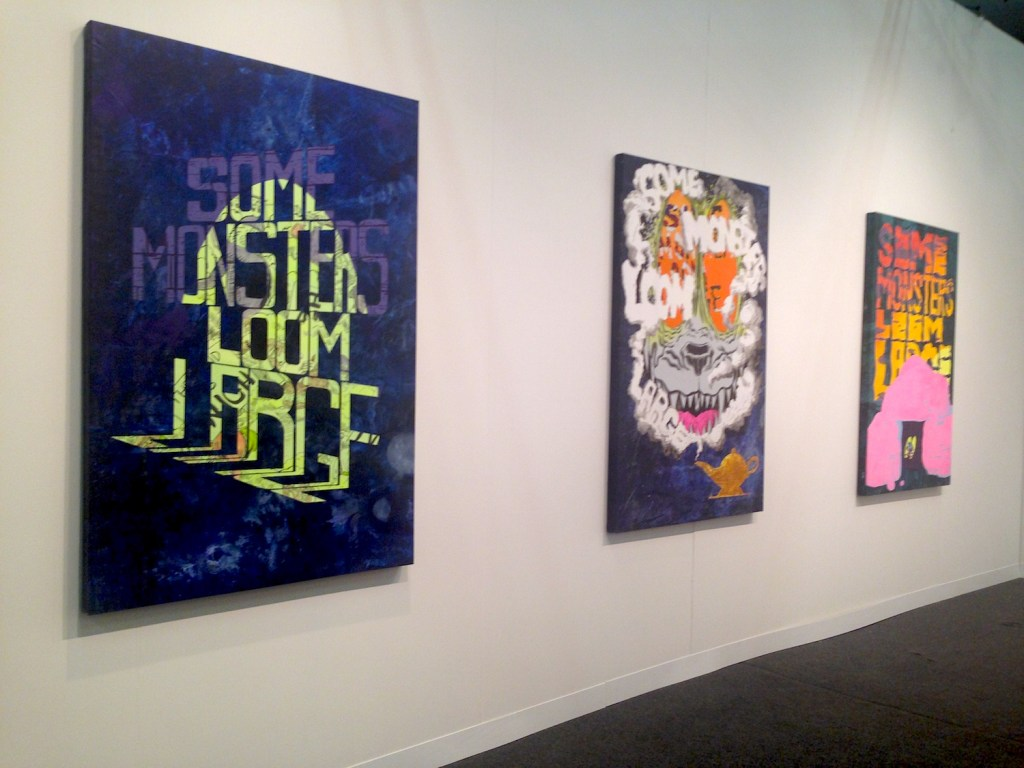 Mark Gibson, (Left to Right) Searchlight, Bad Dream Genie, and Cowering Calamity, all 2015 Acrylic on canvas, Fredericks & Freiser Gallery, New York, Photograph by Katy Hamer, The Armory Show, 2015