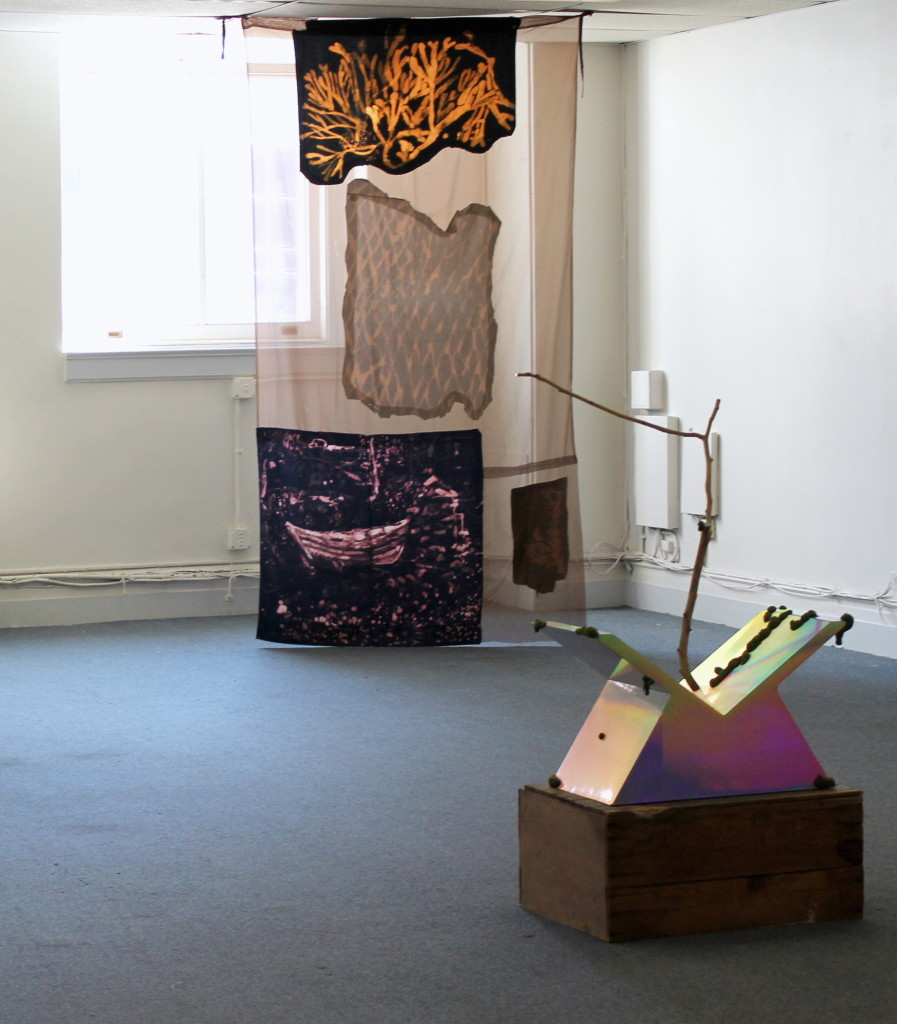 """Lauren Luloff, (background) """"John's Dory with Seaweed"""", bleached bedsheets and fabric, 9 x 4', 2012, David Shaw (foreground) David Shaw, """"Vast"""", Wood, holographic laminate, epoxy, flocking   40.75"""" x 28.25"""" x 13.75"""", Apples Turn to Water, Curated by Kari Adelaide and Max Razdow, SPRING/BREAK, 2015"""