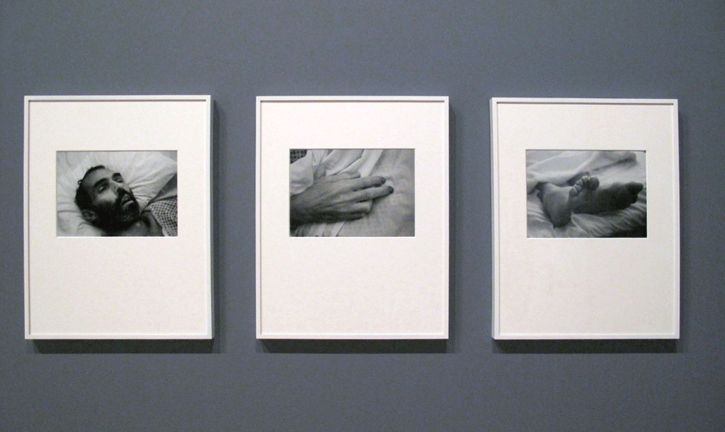 David Wojnarowicz, Untitled, Three gelatin silver prints, 1989, (at the deathbed of artist Peter Hujar who died of AIDS-related causes), The Whitney Museum of American Art, Photograph by Katy Hamer, 2015