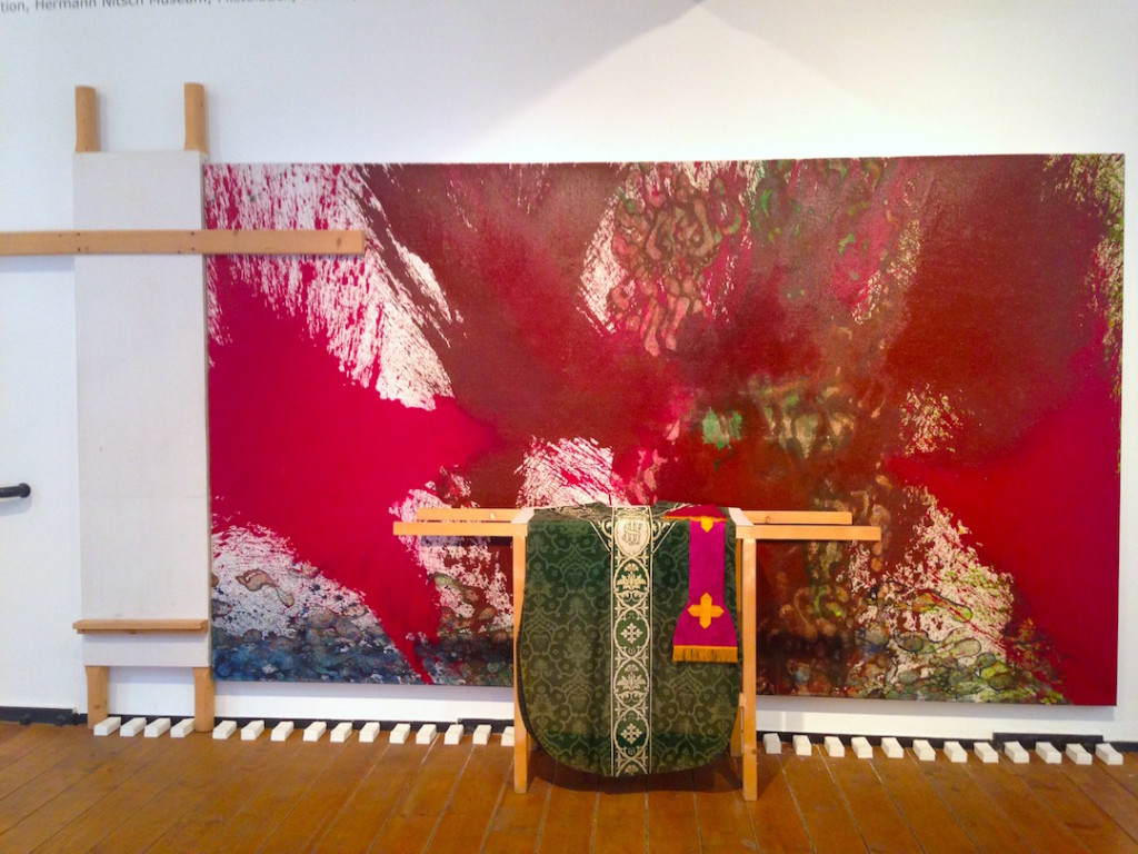 Hermann Nitsch, Installation view (painting, 2009, on loan from the Hermann Nitsch Museum, Mistelbach, Austria), at Museo Nitsch, Naples, Photograph Katy Hamer, 2015