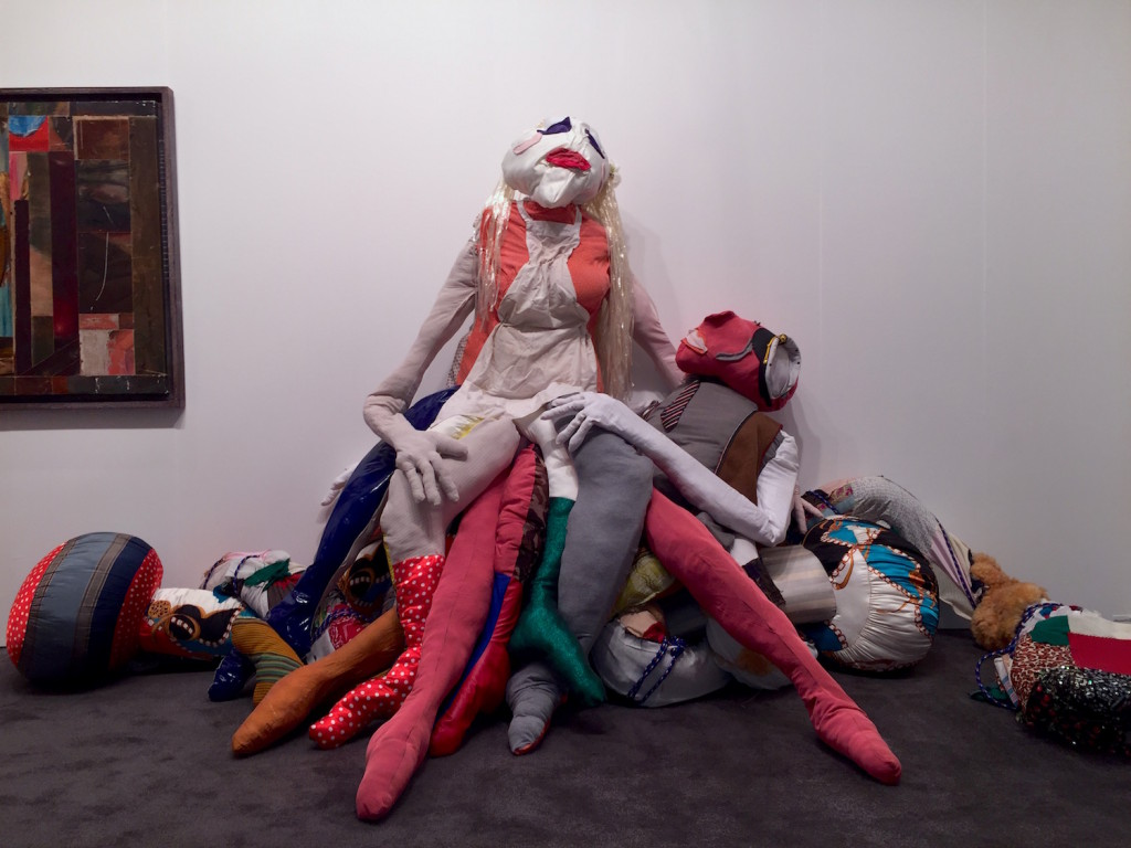 """Agathe Snow """"Since the Beginning of Time... Love Is A Battlefield"""". Silk, Vinyl, Acrylic, Cotton Stuffing, Rubber, The Journal Gallery, Brooklyn, 2015, Installation view NADA Miami, Photograph Zebadiah Keneally, 2015"""