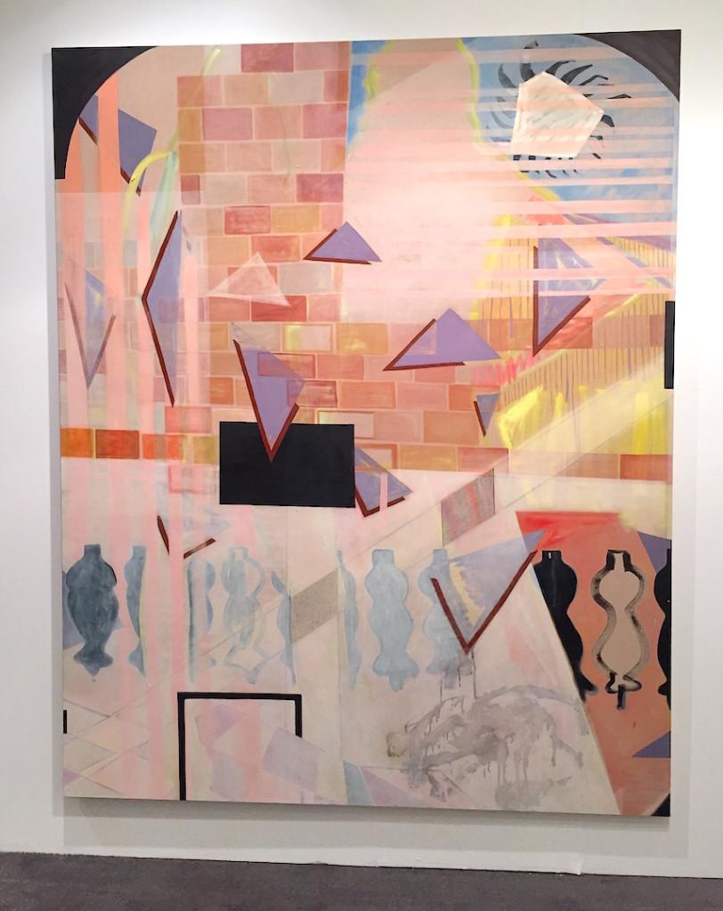 "Caragh Thuring, ""Memphis HL"" oil, silverleaf, graphite on linen 2013, Simon Preston Gallery, NY, Installation view NADA Miami, Photograph by Zebadiah Keneally"