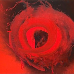 "Otto Piene, ""Cyclops"" (1993-94), Oil and fire on canvas, Sperone Westwater, New York, Photograph by Jongho Lee"