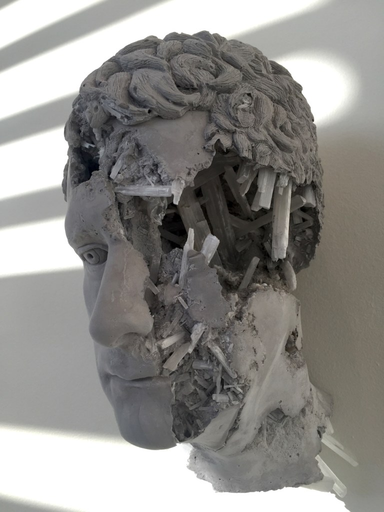 Daniel Arsham, Slenite Eroded Broken Figure, Selenite volcanic ash, Hydro-stone, 2015, Courtesy of Galerie Perrotin, NY, Photograph by Katy Hamer, 2016