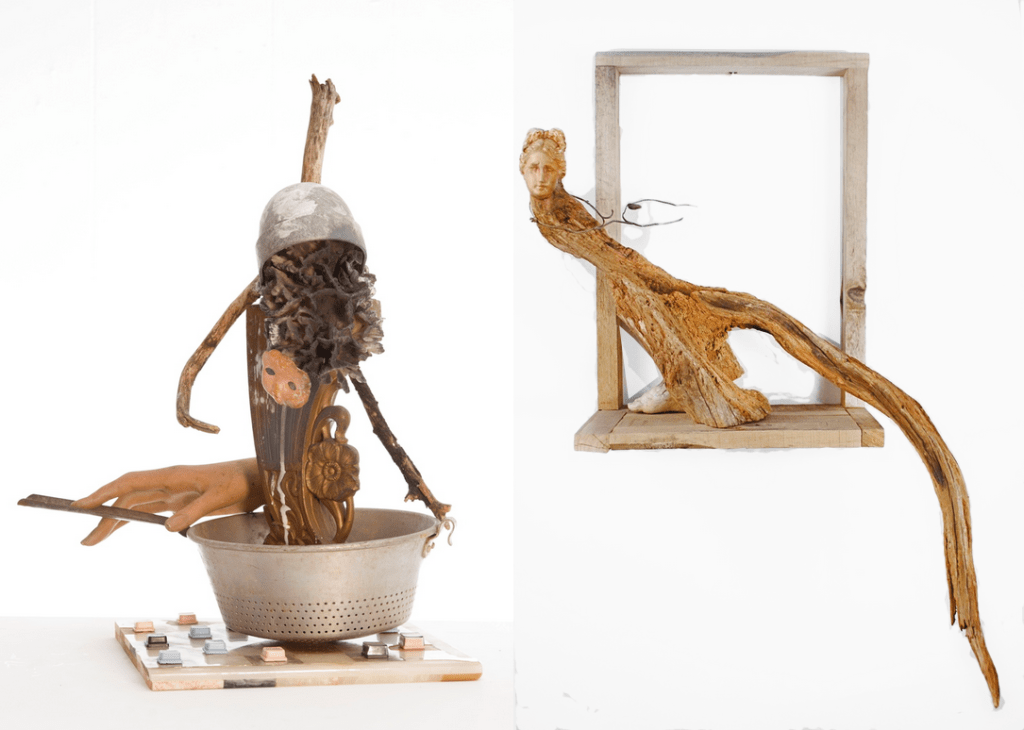 "(Left) Last Days (Portrait), Size - 19""h x 17""w x 13""d, 2012, Materials - Detritus/Marble/Plastic/Metal/Latex/Wood/Coral/ Epoxy/Paint. (Right) Maiden Voyage, Size - 36""h x 14""w x 8""d, 2009, Materials - Detritus/Wood/Metal/Latex/Resin/Epoxy/Paint."