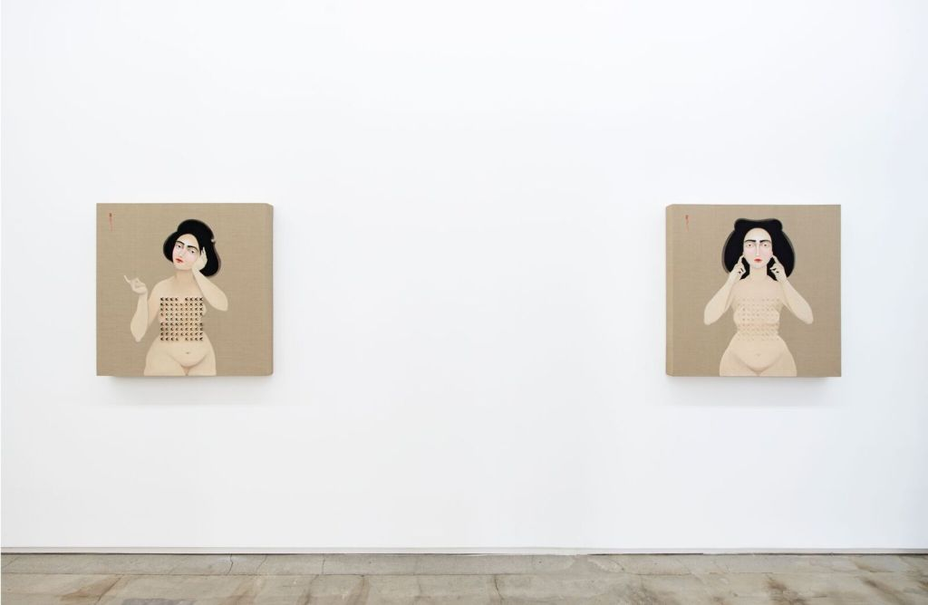 "Hayv Kahraman, Installation view, Left: ""Shield 2,"" (2016) right ""Shield 3,"" (2016) Image courtesy of Jack Shainman Gallery, 2016."