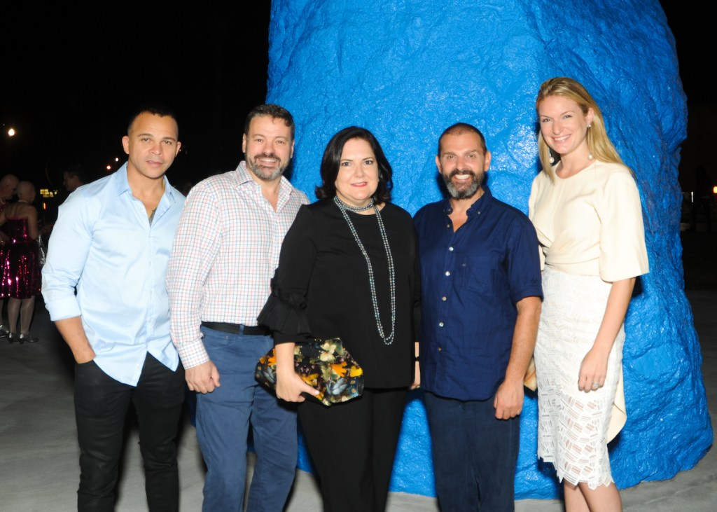 "Opening night ceremony of ""Miami Mountain"" at the Bass Museum with Silvia Karman Cubina (center) and Ugo Rondinone to her right with Sarah Arison and friends"
