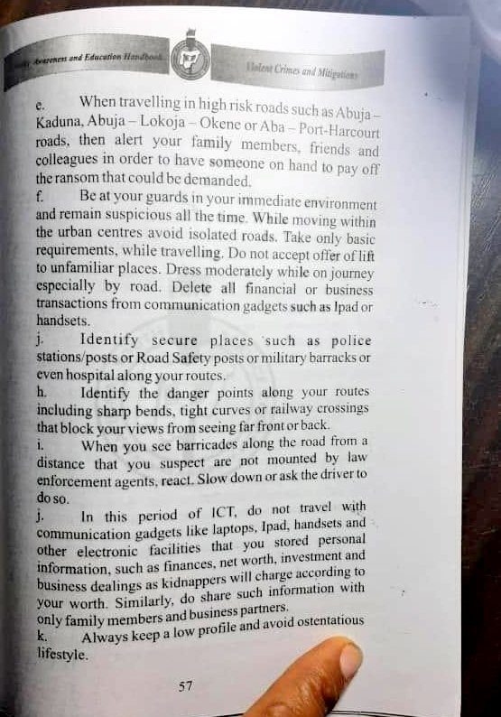 NYSC security pamphlet.
