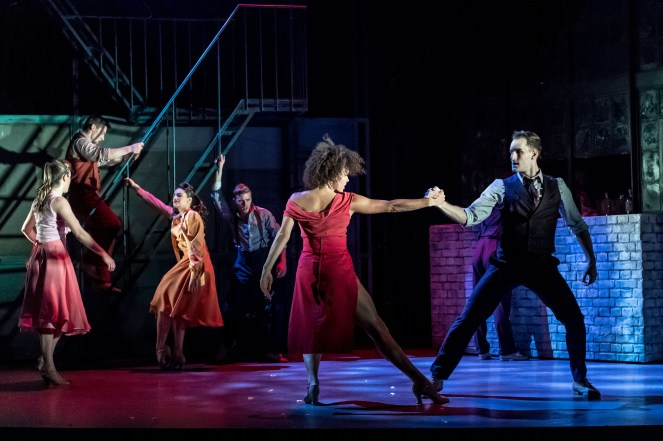 The cast with Ebony Molina (Ivy) and Jason Winter (Charlie), Jekyll & Hyde at The Old Vic. Photo by Manuel Harlan (1)