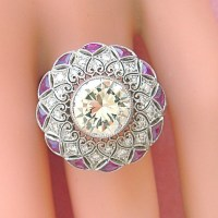 Exquisite Art Deco 2.80 Ct Brilliant Diamond Ruby Lacey Ring