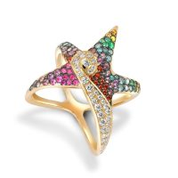 Oseanyx Starfish Multi-colored Gemstone Ring