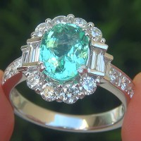 A Gorgeous GIA 3.01 Carat VVS Natural Paraiba Tourmaline Diamond 14k White Gold Estate Ring