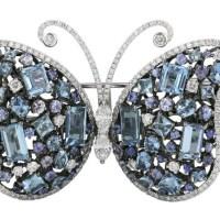 A Gorgeous Aquamarine Sapphire Diamond Butterfly Brooch