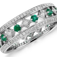 A Stunning Gala Emerald and Diamond Eternity Ring in 18k White Gold