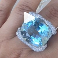 A Spectacular Aquamarine and Diamond Ring