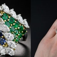 A Spectacular French Emerald, Sapphire and Diamond 18K Gold Ring
