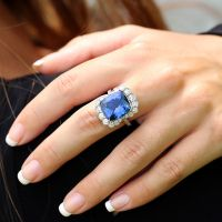 A Spectacular Estate Cushion Tanzanite Ring with Diamonds in 18kt White Gold 11.25 Cwt