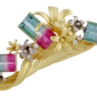 A Gorgeous MFCO Womens Platinum 18K Yellow Gold Diamond and Watermelon Tourmaline Floral Brooch