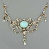 A Gorgeous Late Victorian Opal and Diamond Necklace circa 1900