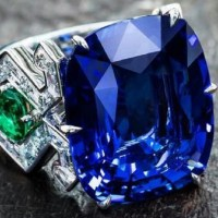 Stunning 23 Carat Burmese Sapphire, Emerald and Diamond Ring