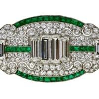 Spectacular Art Deco Diamond Emerald Brooch
