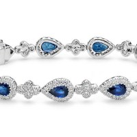 Sapphire and Pavé Diamond Halo Bracelet