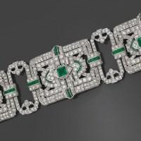 A Rare and Spectacular Art Deco Platinum, Diamond and Emerald Bracelet, circa 1925.