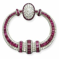 Art Deco Ruby and Diamond Brooch