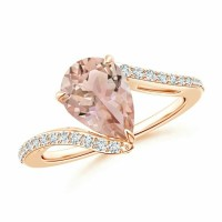 Gorgeous Solitaire Pear Morganite Bypass Ring with Diamond Accents